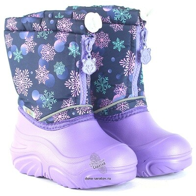 581/01-17 Дюна Сноубутсы оптом, снег пурпурный/сиреневый, размеры 27-33