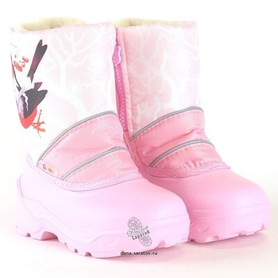 576-11 Дюна Сноубутсы оптом, снегири/н.розовый, размеры 27-33