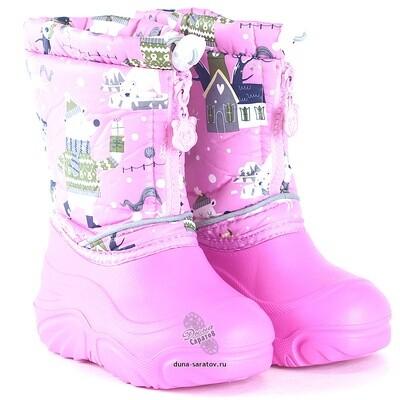 581/01-18 Дюна Сноубутсы оптом, аляска розовый/я.розовый, размеры 27-33