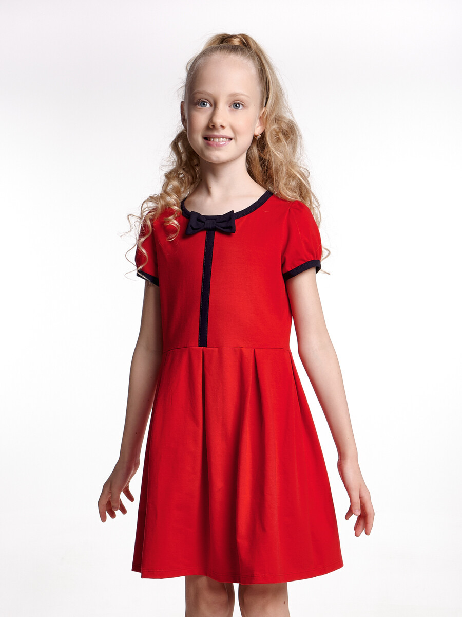 UD 1418(3)красный  Fifteen Платье с бантиком (122-146см)