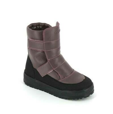 394-МП-02 (серо-сиреневый) ТОТТА Ботинки зимние (нат. кожа, нат, мех) размеры 27-31
