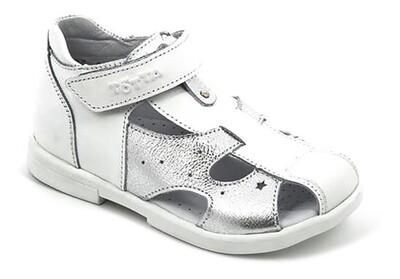 069-КП-03 (белый/серебро) Сандали ТОТТА полностью из натуральной кожи, размеры 27-31