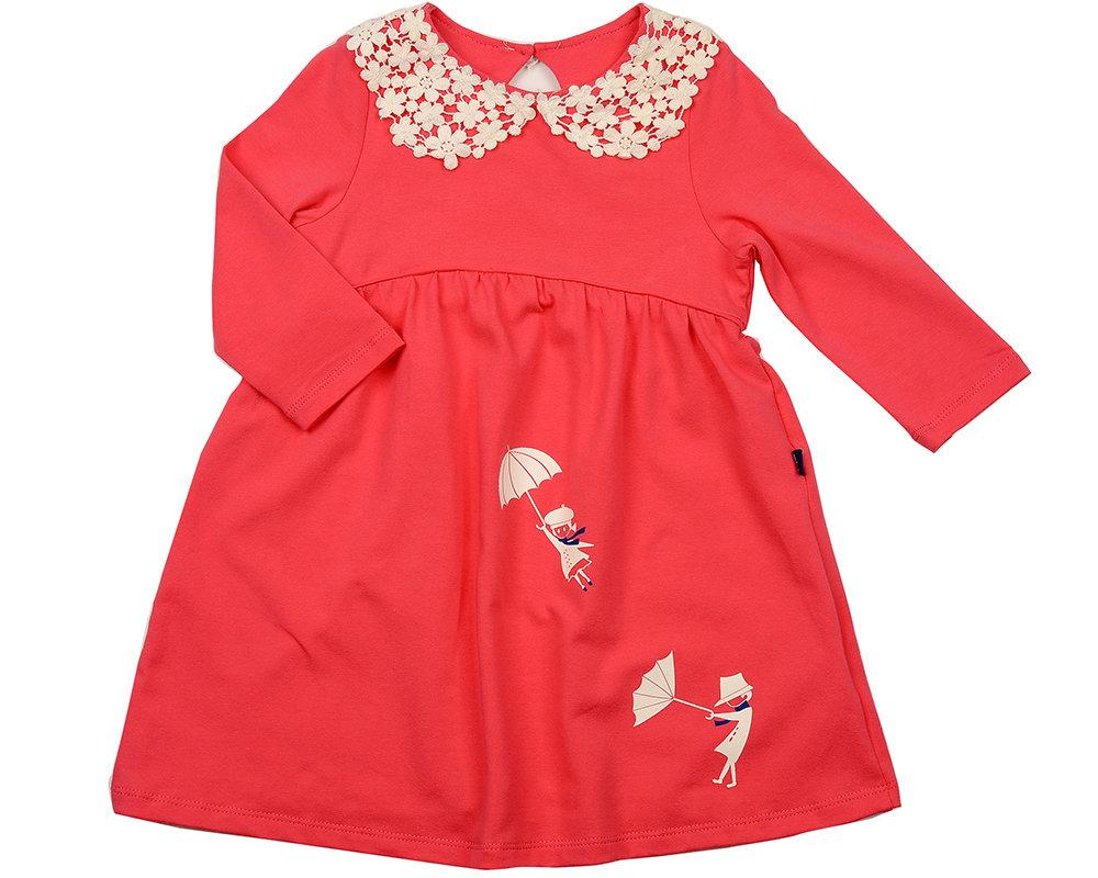 Платье с ажурн.воротником (98-122см) UD 2736 коралл