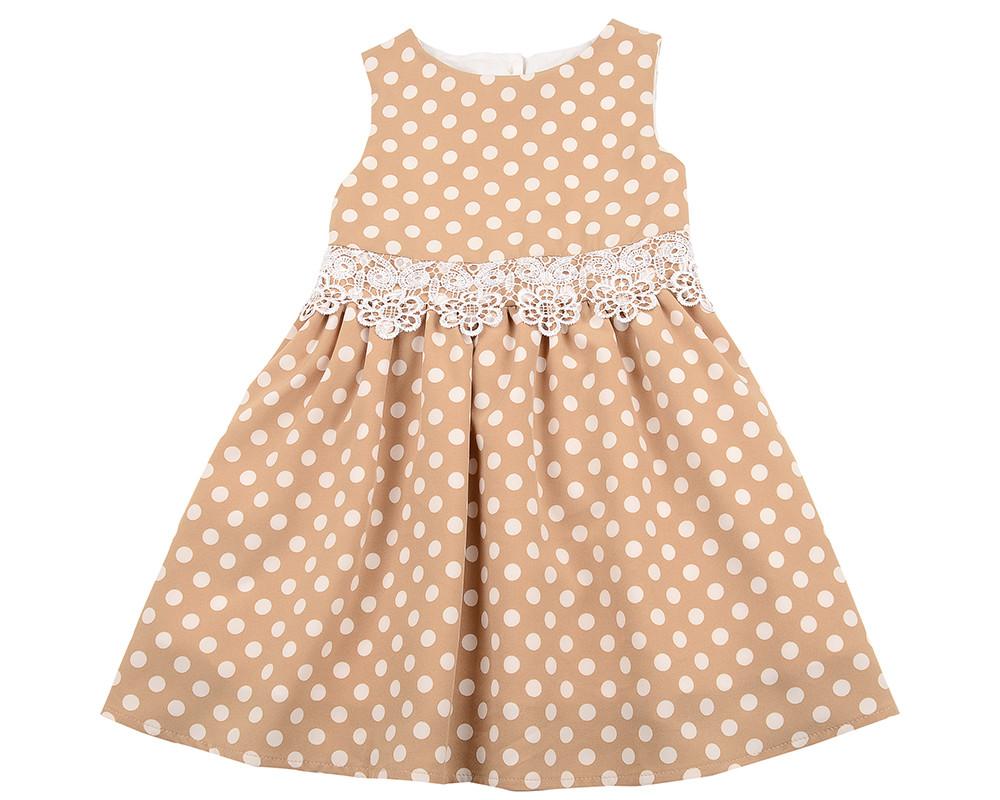 Платье (98-122см) UD 6262(1)беж/горошек
