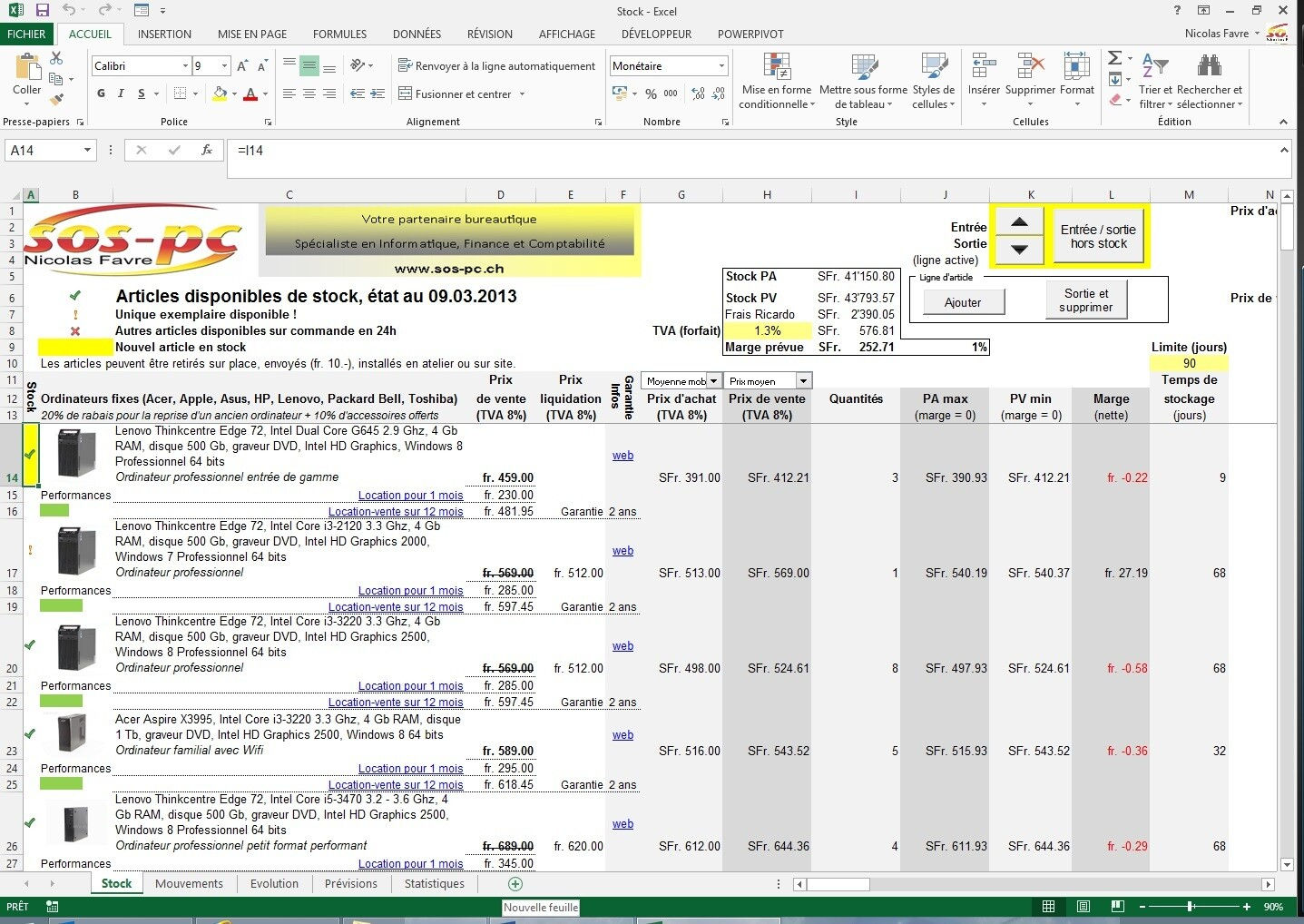 Gestion de stocks / catalogue d'articles (Excel)