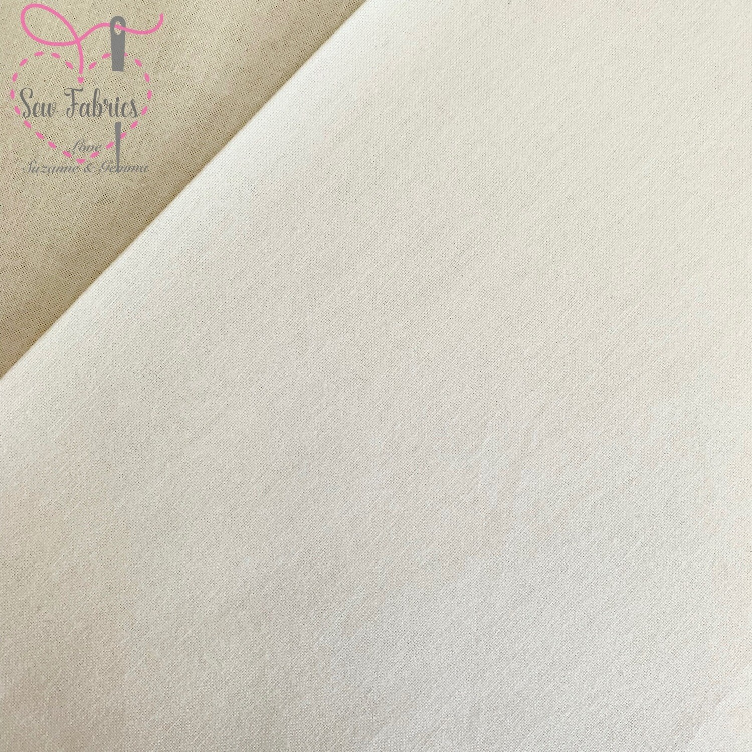 Rose & Hubble Ivory 100% Craft Cotton Solid Fabric Plain Material