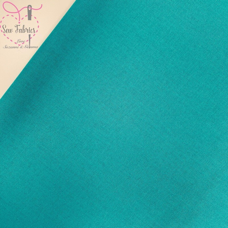 Teal 100% Craft Cotton Solid Fabric Plain Blue/Green Material
