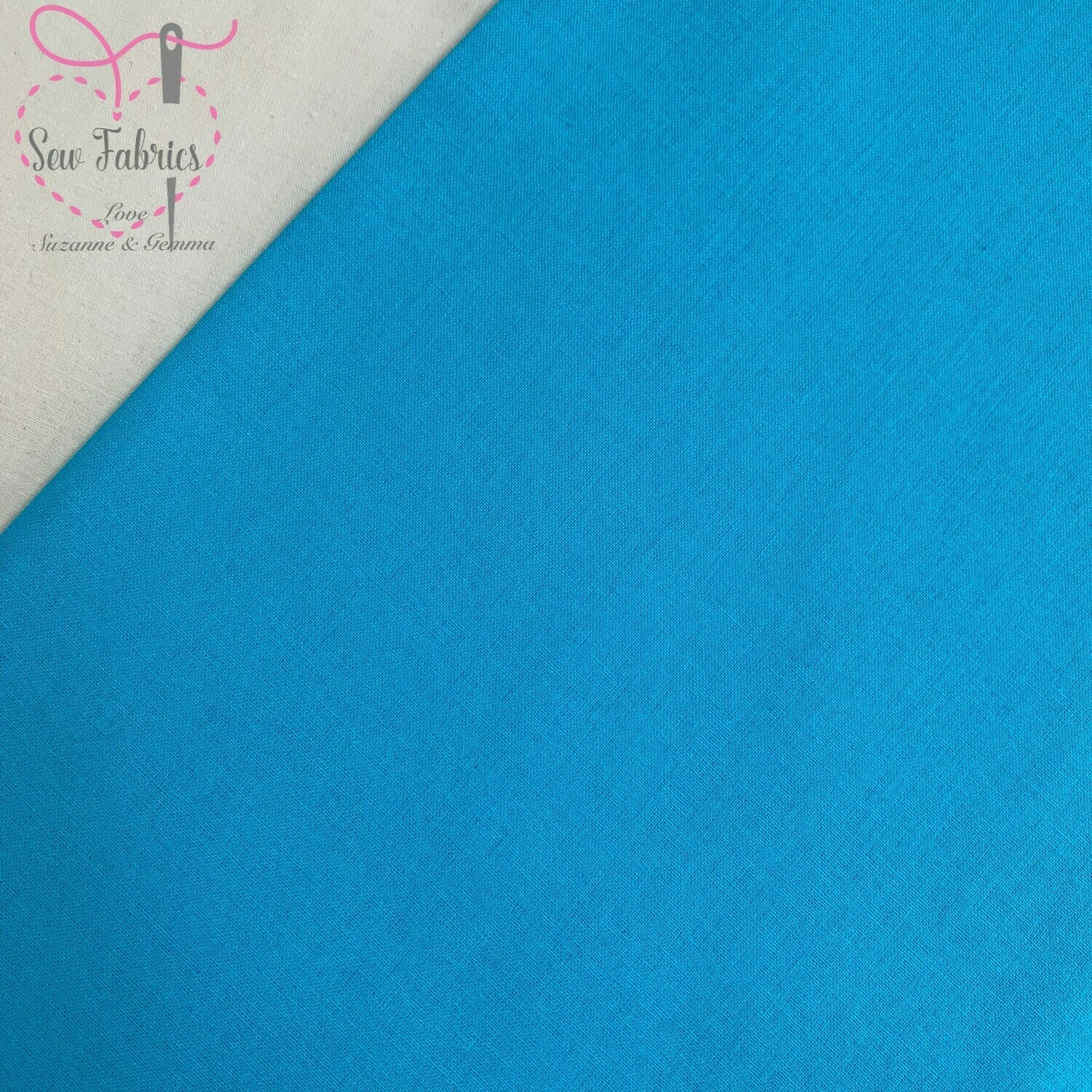 Turquoise 100% Craft Cotton Solid Fabric Plain Blue Material