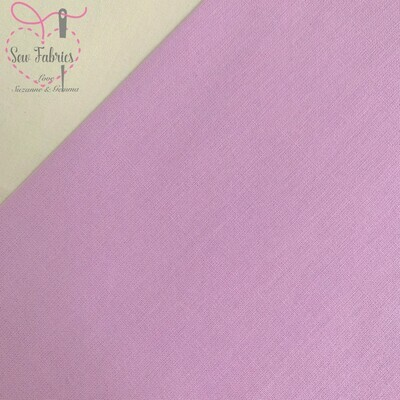 Lilac 100% Craft Cotton Solid Fabric Plain Pale Purple Material