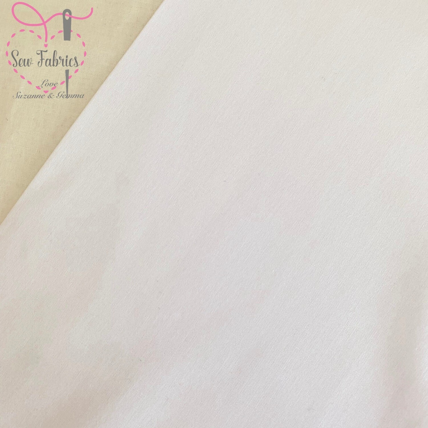 White 100% Craft Cotton Solid Fabric Plain Material