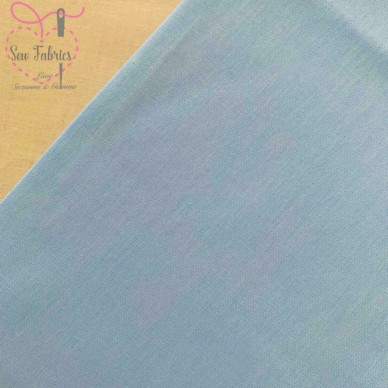 Pale Blue 100% Craft Cotton Solid Fabric Plain Blue Material