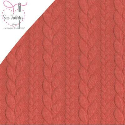 Soft Rich Coral Cable Knit Jersey Fabric, Dressmaking, Sewing