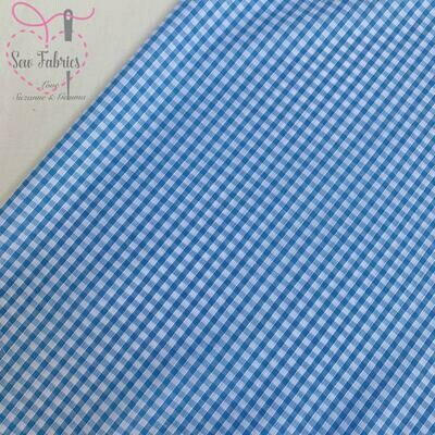 Classic Sky Blue Gingham Print Polycotton Fabric  School Colour Material For Craft & Sewing Projects
