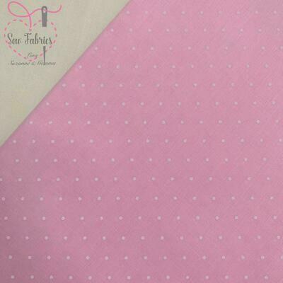 Pink Polka Dot Polycotton, Spot Fabric Material