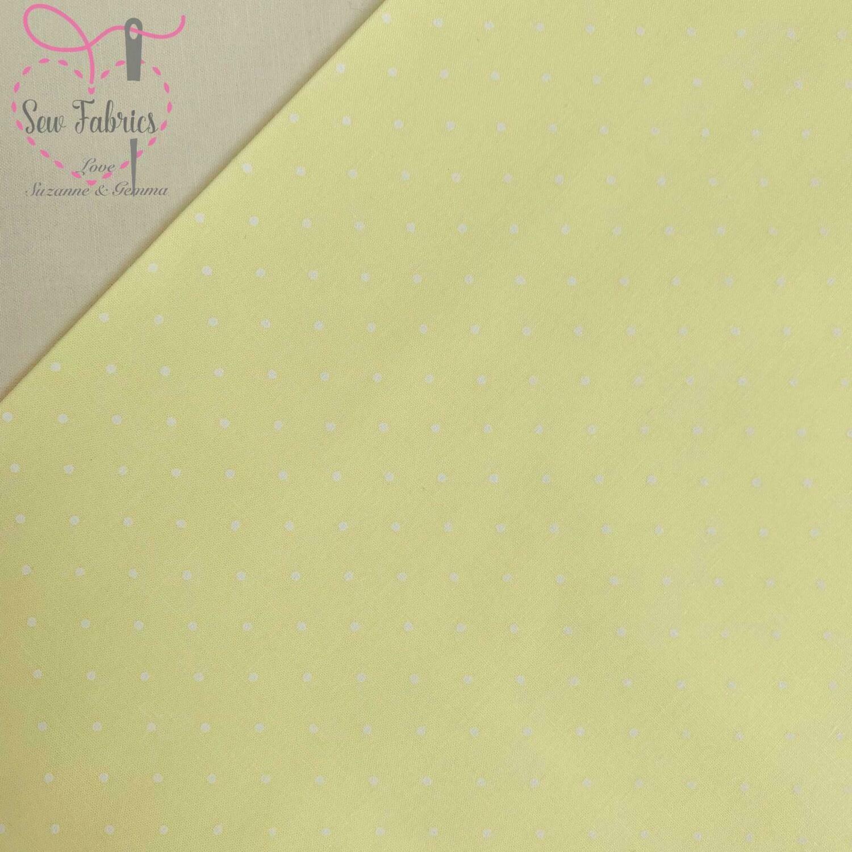 Lemon Polka Dot Polycotton, Yellow Spot Fabric Material