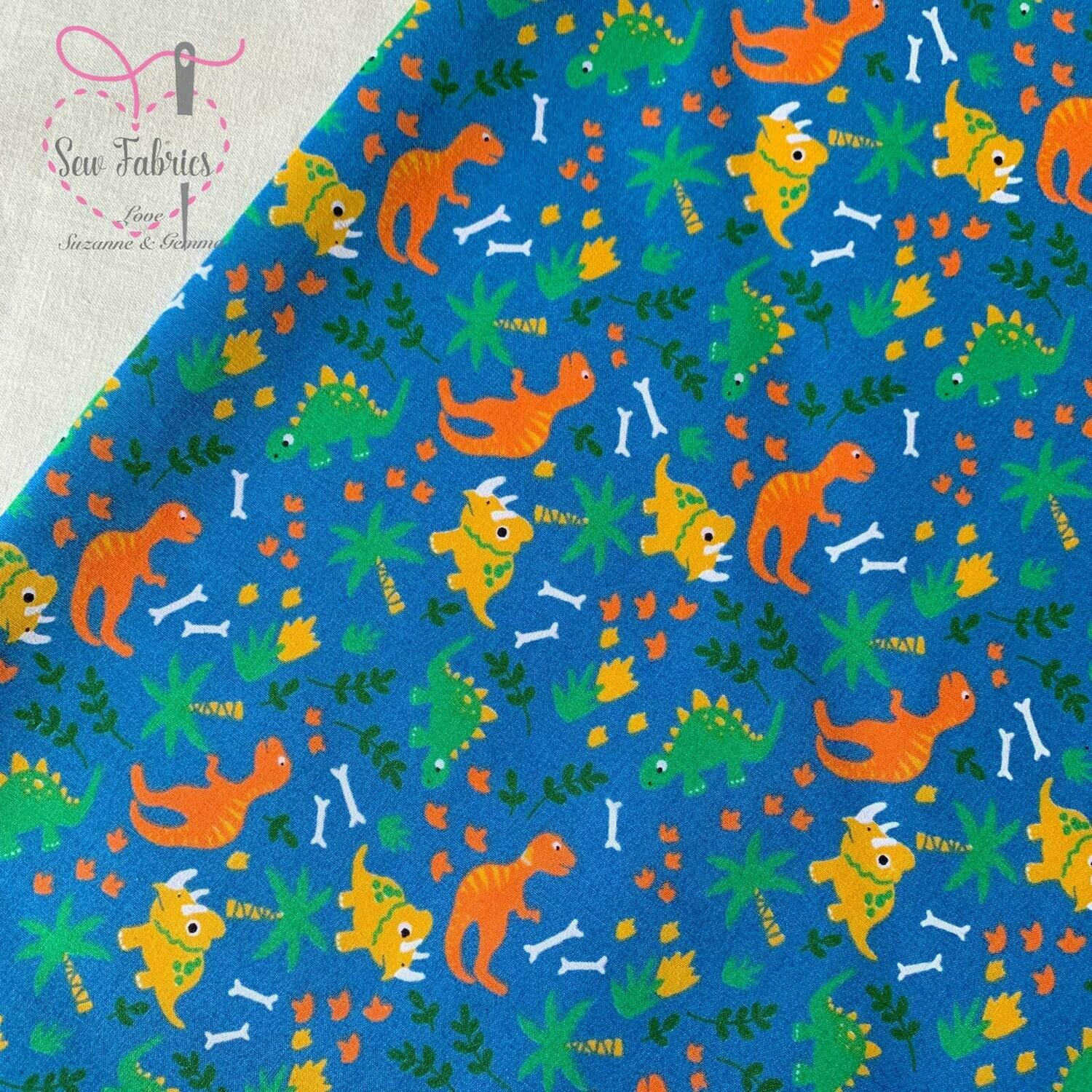 Blue Dinosaur Print Polycotton Fabric Childrens Novelty Fabric Material Boys Unisex