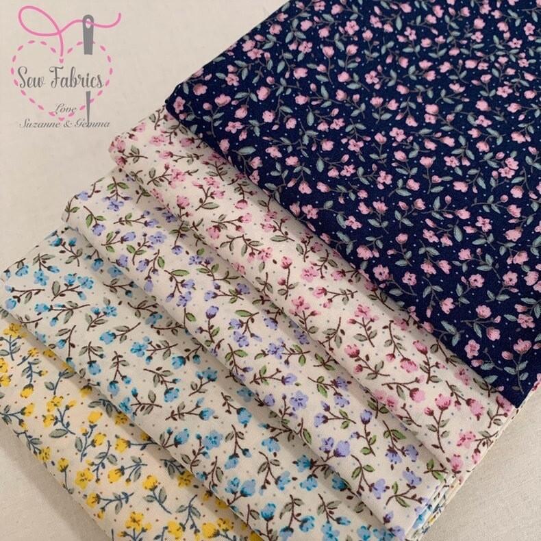 Rose and Hubble Ditsy Floral Fabric 100% Cotton Poplin 5 Fat Quarter Bundle