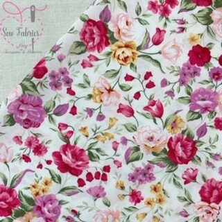 Rose & Hubble Traditional Pink Floral 100% Cotton Poplin Fabric