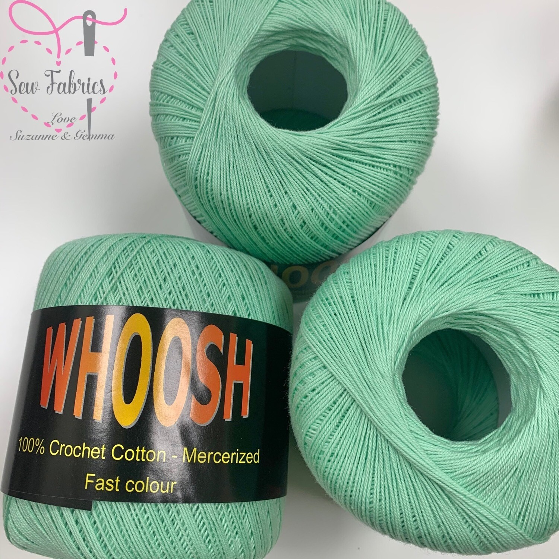 Pack of 3 x Whoosh 100% Pure Mercerised Crochet Cotton Yarn -Mint
