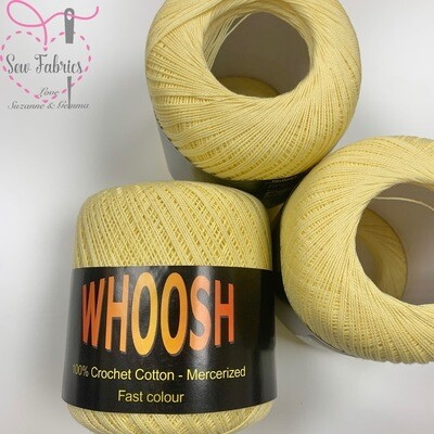 Pack of 3 x Whoosh 100% Pure Mercerised Crochet Cotton Yarn -Lemon