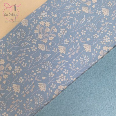 Rose and Hubble Blue Wildflower with Pale Blue Acrylic Felt Backing