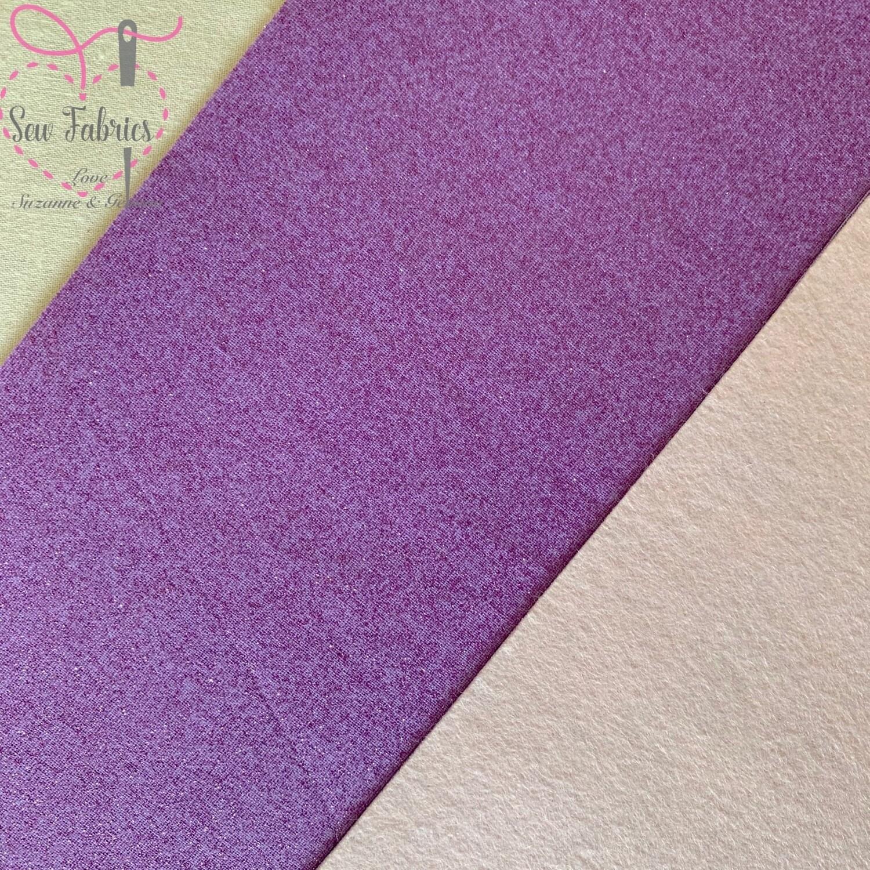 John Louden Lilac Glitter 100% Cotton Fabric Backed onto Cream Acrylic Felt