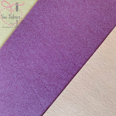 John Louden Lilac Glitter 100% Cotton Fabric Backed onto Cream Acrylic Felt