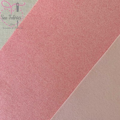 John Louden Pink Glitter Fabric Backed onto Pink Acrylic Felt