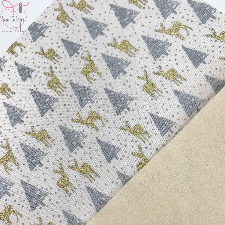 Gold & Silver Reindeer Felt backed Fabric