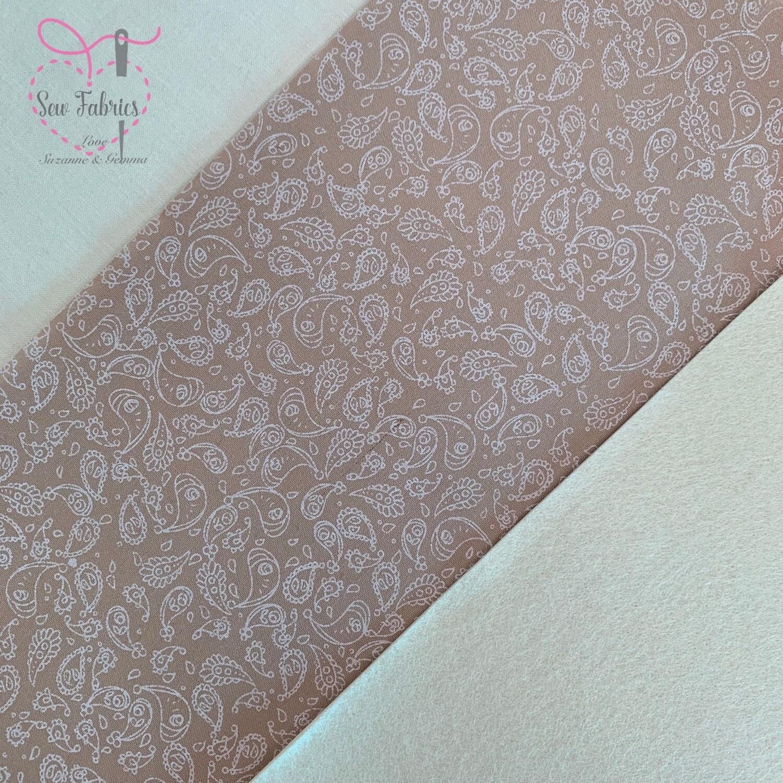 Beige Paisley Fabric with Cream Acrylic Felt Backing