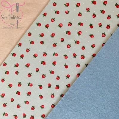 Mint Strawberry Print Polycotton Backed onto Blue Acrylic Felt