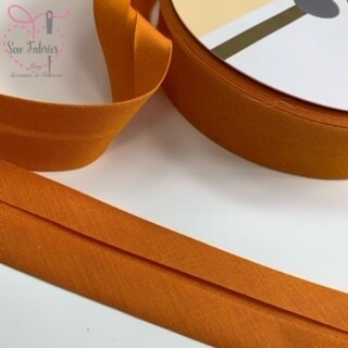 25 metre reel of Ochre Plain Polycotton Bias Binding 30mm Mustard, Yellow, Gold