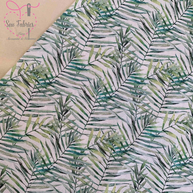 "John Louden Fern Floral Fabric 100% Cotton 60"" Width Green Leaf Boho Nautral Material"