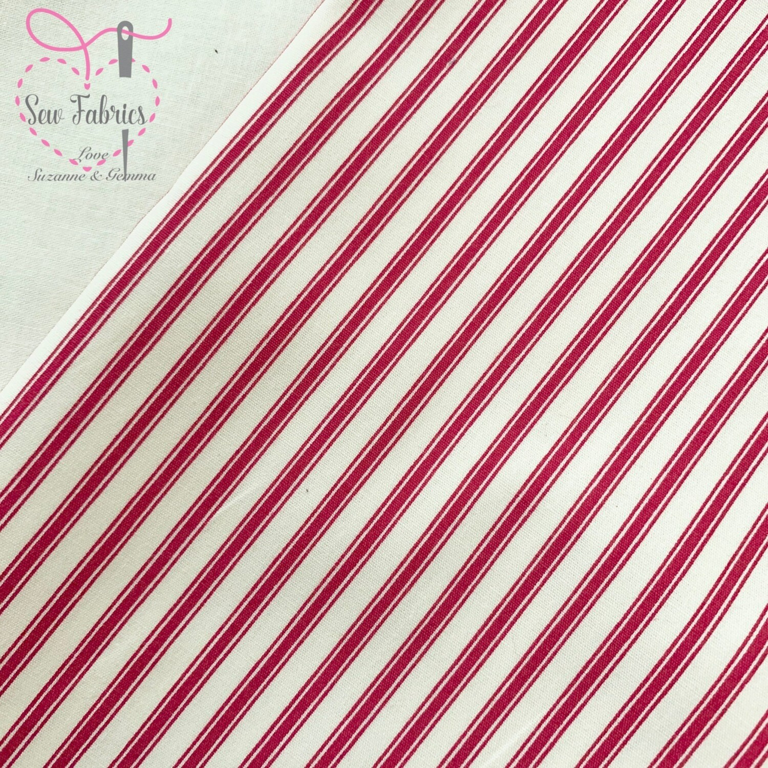 Rose and Hubble Red Stripe Fabric 100% Cotton Poplin Geometric Material Striped