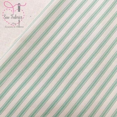 Rose and Hubble Mint Green Stripe Fabric 100% Cotton Poplin Fabric, Material Geometric