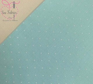 Mint Green Polka Dot Polycotton Spot Fabric
