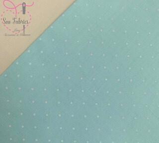 Mint Green Polka Dot Polycotton Spot Fabric
