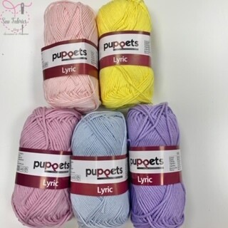 5 x 50g Balls of Puppets Lyric Soft, Absorbent and Washable Knitting and Crochet Yarn / Cotton Pastel Pink, Yellow, Rose, Blue, Purple