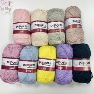 9 x 50g Balls of Puppets Lyric Soft, Absorbent and Washable Knitting and Crochet Yarn / Cotton
