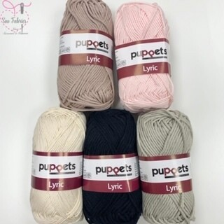 5 x 50g Balls of Puppets Lyric Soft, Absorbent and Washable Knitting and Crochet Yarn / Cotton Skin Tone bundle