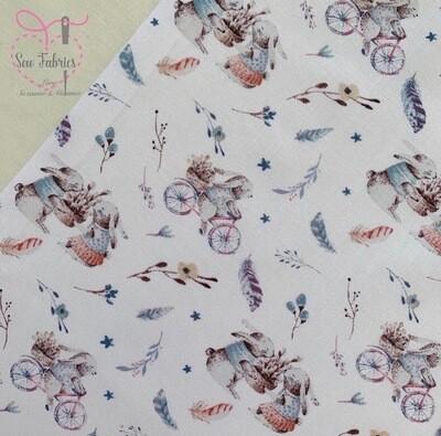 John Louden Ivory Bunnies on Bicycle Korean 100% Cotton Fabric