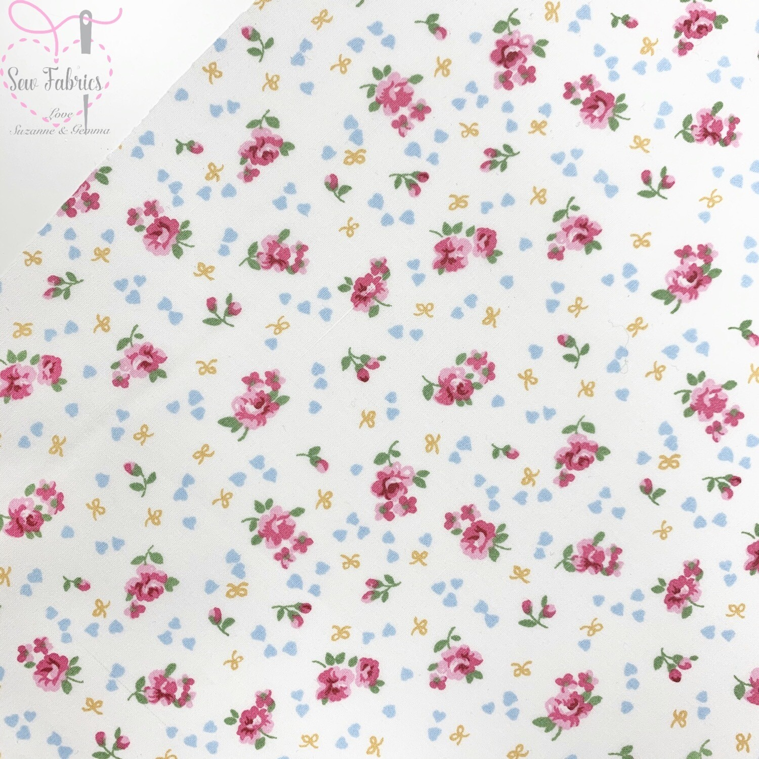 Rose & Hubble Ivory Ditsy Roses Floral Fabric 100% Cotton Poplin Cream Vintage Flower Material