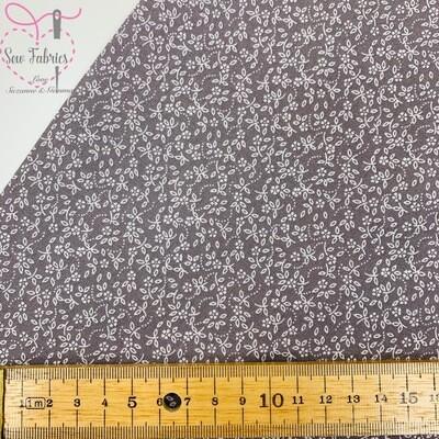 Pewter Grey 100% Craft Cotton Ditsy Daisy Fabric