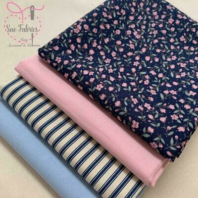 Navy and Pink Floral and Stripe 100% Cotton Fabric, 4 Fat Quarter Bundle