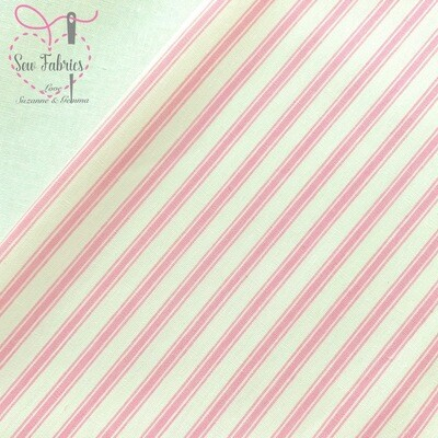 Rose and Hubble Pink Stripe Fabric 100% Cotton Poplin Geometric Material
