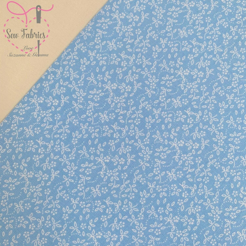 Sky Blue 100% Cotton Ditsy Daisy Fabric