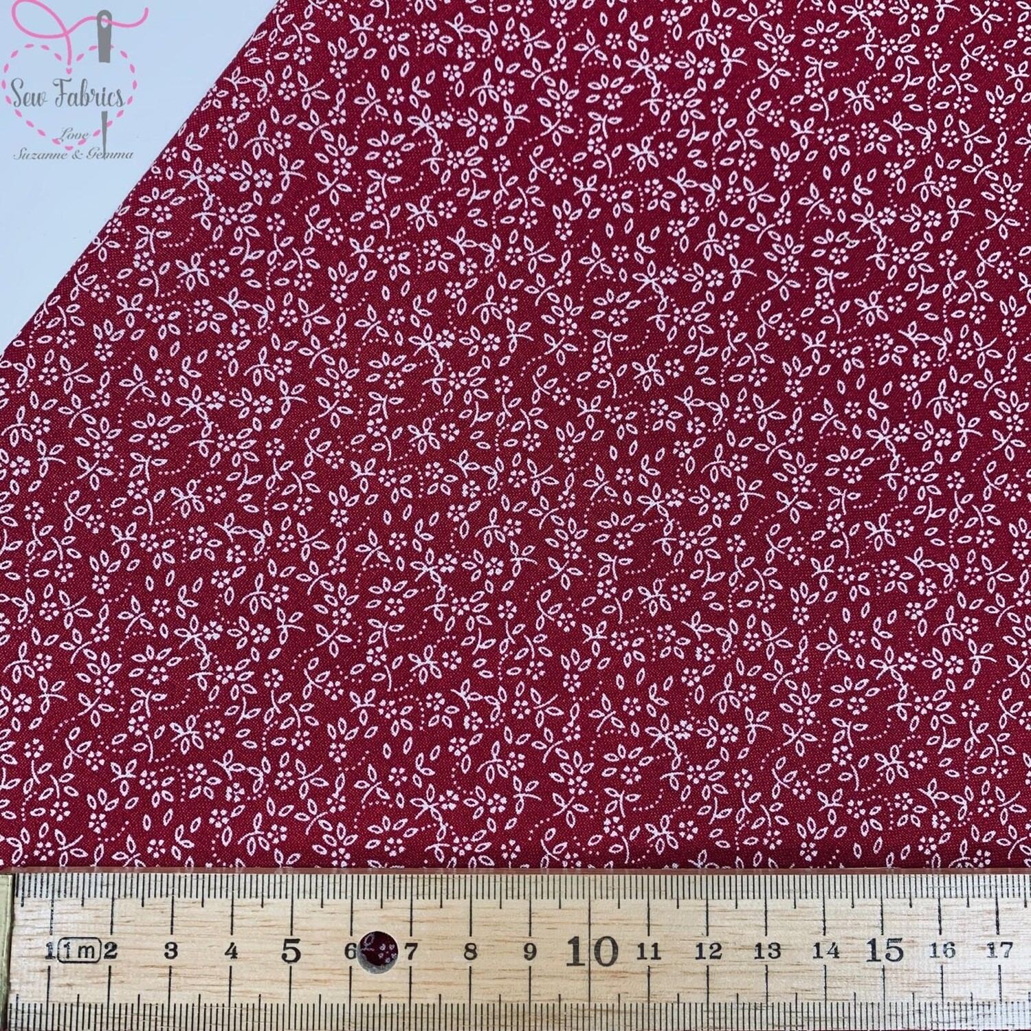 Wine 100% Cotton Ditsy Daisy Fabric