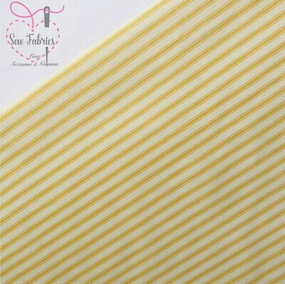 Rose and Hubble Yellow Stripe Fabric 100% Cotton Lemon Striped Geometric Material