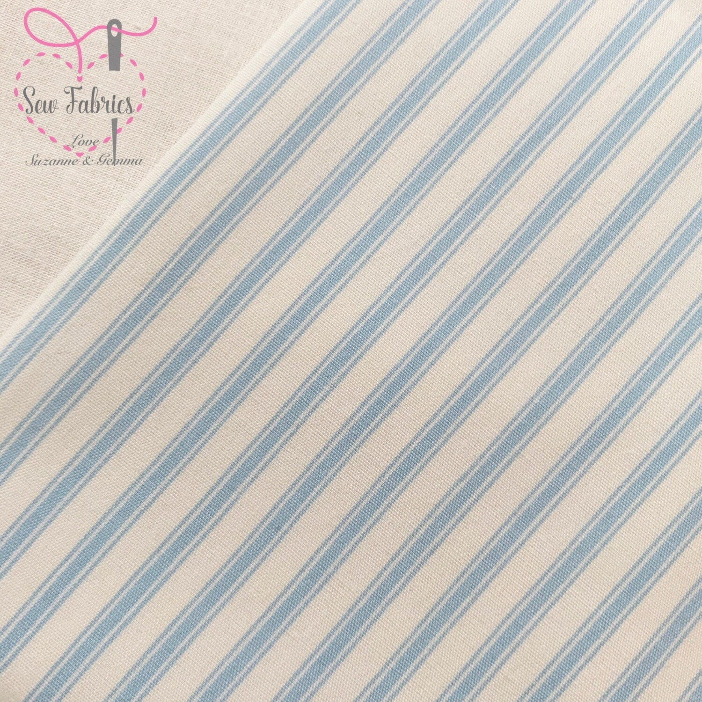 Rose and Hubble Light Blue Stripe Fabric 100% Cotton Poplin Geometric