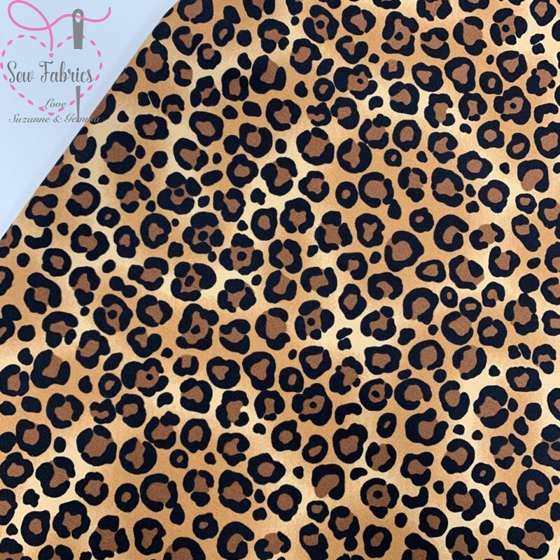Rose & Hubble Beige Brown Leopard Print 100% Cotton Poplin Fabric, Animal Print Material